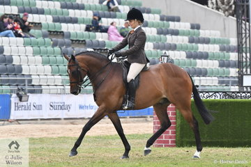 Tiffany Greenhill rode her, 'Tiffin's Encore' to win the class for Lady's Show Hunter Galloway and go on to claim the Show Hunter Galloway Reserve Championship.