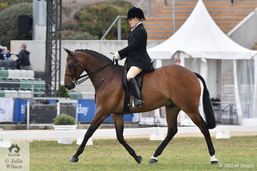 Penny Greenhill rode her sister, Tiffany's, 'Tiffin's Encore' to take fifth place in the Esquire Equestrienne Turnout.