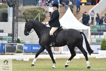 Sydney barrister, Melissa Gillies is keen to be part of Australian equestrian history and is pictured aboard her, Beyond Reasonable Doubt' during the Garryowen Equestrienne Turnout class.