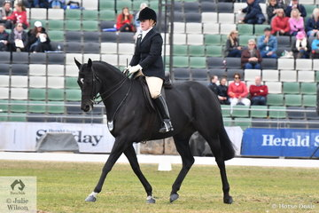 Ashlyn Sorraghan has had a lot of history with the Royal Melbourne Show and is pictured aboard her, 'Certainty' during the 2018 Royal Melbourne Show Garryowen Equestrienne Turnout class.