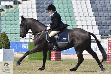 Jeanette Stockes representing the Yarra Glen and Lilydale Hunt Club rode , 'Jack' to second place in the class for Medium Hunter Shown in Saddle.