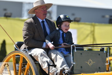 Taking a closer look at Shane and Matthew Patterson, you realise that it was not only the horse that was a Novice. Four year old Matthew is pictured at the reins and it will not be too long before he is no longer a novice driver. Matthew is clearly enjoying himself.
