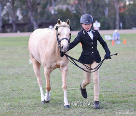 "Sophie Knapp pictured punning out her pony ""Fernbrook Will Be"" to win the class for Led Riding Pony Geldings 4 years and over not exceeding 13hh."