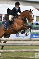 Amy Herbert representing the Yarra Glen and Lilydale Hunt Club is pictured making a super jump during the Noel Mason Memorial Hunter's Plate.