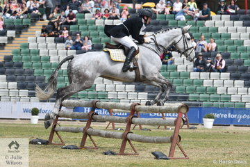 Aaron Mahwinney representing the Oaklands Hunt Club is pictured aboard , 'Snowy River Lindberg' during the Noel Mason Memorial Hunter's Plate today.