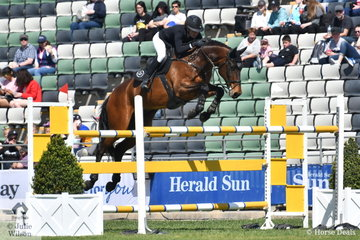 Jess Stones jumped a clear and then 4 aboard her Diamond B Vermont for sixth place, in the John W Kelly Memorial jumping contest for Group A horses.