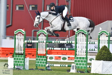 NSW rider Melissa Blair and her wonderful imported Zidora, fly over a fence in the jump off Colin Kelly Memorial Group B, on their way to seventh place.