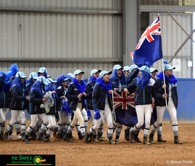 Team New South Wales made a loud and proud entrance into the opening ceremony at the 2018 Marcus Oldham Australian Interschool Championships.