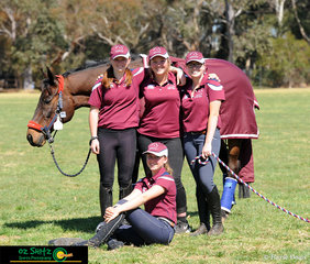 Abby Grayson and her fellow team mates from Queensland absorbing sunrays and warmth prior to competing at the wonderful horse facilities at Werribee.