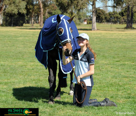 Katie Hancock and her mare Any Thyme enjoying some sun before the 2018 Marcus Oldham Interschool National Championships begin.
