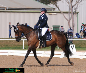 Chloe Brooks and Isle of Cameo looked the part in the dressage phase of the EvA80 riding in their home state of Victoria at the National Equestrian Centre..