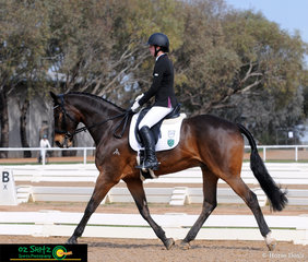 Strutting their stuff in the dressage phase of the EvA80 was Tasmanian combination, Hannah Scott and Lombardo at the 2018 Marcus Oldham Interschool National Champiionships.