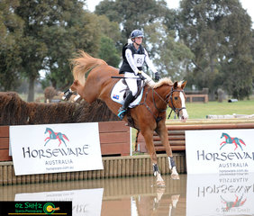Taking the plunge into the water was Valinco and with Zoe Hutchinson aboard in the CNC One Star cross country phase.