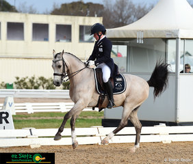 Flying across the arena was Heritage Park Chartreuse with Amy Bachmann in the saddle and they performed in the Prix St George class on the third day of the 2018 Marcus Oldham Interschool National Championships.