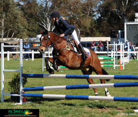 Sophie Baldwin and Mirrabel Patterson rode for New South Wales in the Primary 80cm show jumping at the 2018 Marcus Oldham Interschool National Championships.
