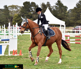Focussed and determined at the start of the Primary 90cm show jumping round was Victorian rider Alyssa Greening and she rode Miss Demeanor at the 2018 Marcus Oldham Interschool National Championships.