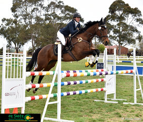 Emma Cumming and Just Reilly compete in the 1.10m show jumping class over the final three days of the 2018 Marcus Oldham Interschool National Championships riding for Western Australia.