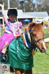 """Rapumzel, Rapunzel, let down your hair"". Five year old, Evie Isherwood, aka Rapunzel took out the Fancy Dress Championship in the Fun Ring at the 2018 and 160th Great Seymour Show Off."