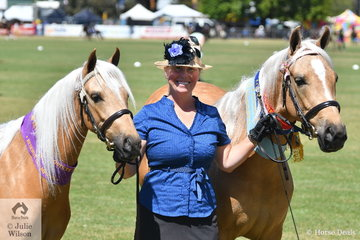Catherine Connard had a successful day at the 2018 Great Seymour Show Off. Catherine is pictured with Champion Mare and Supreme Led Palomino, 'Goldmine Blonde Affair' and Reserve Champion Palomino Mare, 'Goldmine Cool Blonde'.