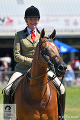 Happy to be back aboard her successful Show Hunter Galloway, 'Dunelm Icon', Di McDonald, complete with new knees waits for her class on the beautiful Seymour oval that was beautifully prepared for the show.