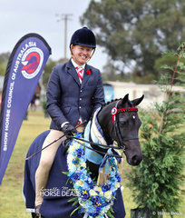 """The SJM EQUINE Champion Large Saddle pony of the Year """"Dirigeree Park Penny Lane"""", ridden by Tim Hadlow for owner Dell Jenkins of Albury."""