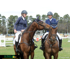 """""""Did we both get first?"""" Ricochet CG (ridden by Gemma Creighton) whispered to Mirnada MVNZ (ridden by Angela Dobbin) after they both rode clear round in an identical time of 70.25 seconds to take out equal first place."""