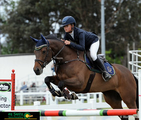 The talented 14 year old Maleah Lang-McMahon and K.S Napolean navigate their way around the 1.10 Super Phase track at the NSW State Show Jumping Championships held in Canberra.