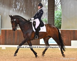 Umbro ridden by Jasmine Haynes in the FEI Junior Individual CDI-J scored 67.892% taking out 1st place