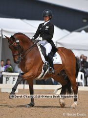 Second place in the FEI Grand Prix CDI-W went to Aristede ridden by Shannan Goodwin with a score of 72.600%