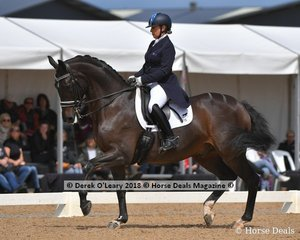 Remmington ridden by Sue Hearn in the FEI Grand Prix CDI-W Freestyle scored 70.085% placing 4th