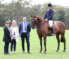 """Judges Alexis Borg, Alycia Borg and Michael Thomas with the Supreme Champion Show Horse of the Show """"LA Confidential"""" and Leith Doran."""