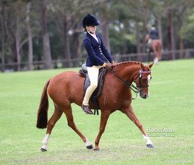 "Champion Small Pony and winner of the Ridden Riding Pony under 12.2hh ""Yartarla Park Meccano"" and Claudia Smith."