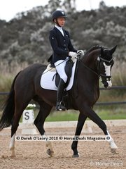 Roxleigh Fidelio ridden by Ruth Schneeberger in the Medium 4.3 placed 5th with a score of 66.036%