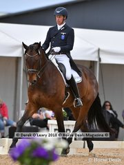 Kalimna Hotshot ridden by David Shoobridge placed 2nd in the FEI Prix St George Stars of the Future with a score of 69.912%