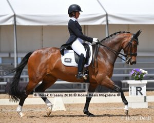 Roxleigh Frangelica ridden by Sally Toulmin in the FEI Prix St George Stars of the Future scoring 61.059%