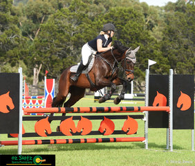 Looking determined was Keeleigh Fleming and her 12 year old Off the Track Thoroughbred, Jerry in the 1.05m class on the final day of the Cabarita Spring Show Jumping Classic.