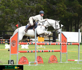 Flying over the 1.10m course in the main arena was Blackall Park Clemintine with Katelyn Burgess in the saddle.