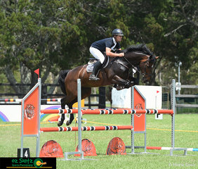 Seraphic Park Isabella an 8 year old Warmblood mare, owned by Evan and Jodie Skeels and Robyn Sharpe, cleared every 1.10m fence with room to spare, ridden by Tom Sedger at the Cabarita Beach Spring Show Jumping Classic.