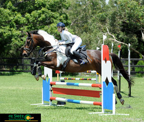 Competing in the 80cm at Cabarita Beach Show Jumping Classic was Georgia Everson and her pinto, Kenlock Centino.