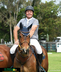 Smiling because he only just beat his son, Shannon Bates and Full Tilt placed third in the 1.15m Speed Championships on Sunday at Cabarita Beach Spring Classic.