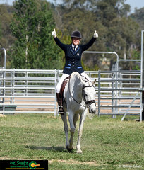 Ecstatic with their dressage test Charlotte Law and Splinter exit the dressage arena.
