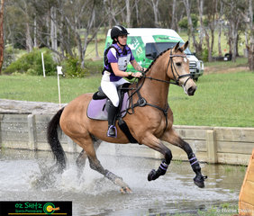 Making a splash at the EvA80 water complex was Rostech Martini with Olivia-Kait Gallegos in the saddle at the NEGS ODE in Armidale.