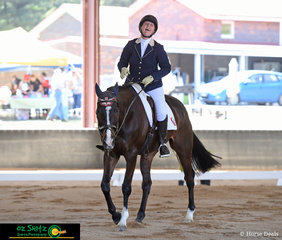 After completing a great test in the CNC One Star, Camilla MacDonald riding Zartop, leaves the arena with a big smile on her face at the NEGS ODE in Armidale, NSW.