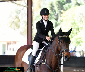 Looking very content after her show jumping round in the EvA95 was Amanda Young and she rode Cash Bonus at the NEGS ODE in Armidale.