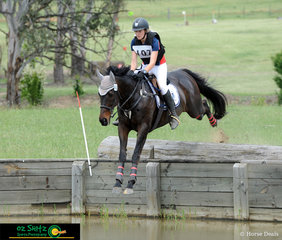 Leaping into the CNC One Star water at the NEGS ODE was Top of the Chart with Junior rider, Priscilla Clonan in the saddle.