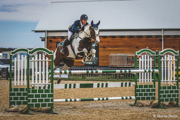 Scottie Barclay and the talented Lily Elmare in the Open 125cm. Bred by Elmare Warmbloods, she is by Copabella Visage.