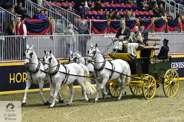The Shadow Brook Farm nomination, owned and driven by John White consisted of four imported Czech Kladruber horses. These horses are noted for being good carriage horses and are related in many ways to the Lipperzaners. They took fourth place in a Green Meadows Four In Hand Coaching class.