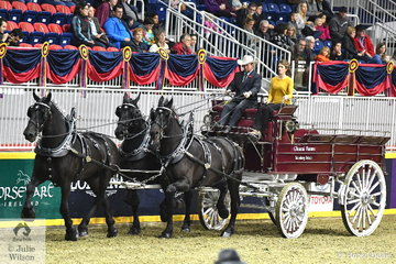 The Glencal Farms nomination driven by Calvin Lipsett Jnr is picture during the class for Percheron Unicorn Hitch.