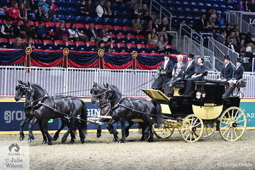 Helen Rich's nomination came all the way from Florida to compete at the Toronto Winter Fair. The team of impressive Friesians pulling a Brewater Park Drag driven by Thorsten Zarembowicz won the Thursday evening Green Meadows Four In Hand Coaching class.