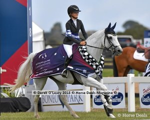 """The Australian Children's Champion for 2018, Maleah Lang McMahon from Queensland riding """"K.S. Annassi"""""""